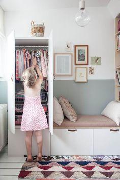 Diy bench · wardrobe furniture · ikea wardrobe hack in charming little girl's bedroom ikea kids wardrobe, kids wardrobe storage,