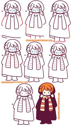potter harry draw ron weasley easy drawing chibi kawaii step tutorial drawings drawinghowtodraw dessin sketch steps simple dessiner apprendre books