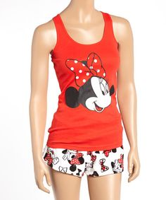 Look what I found on #zulily! Red Minnie Mouse Tank & Boxer Pajama Set - Women by Minnie Mouse #zulilyfinds