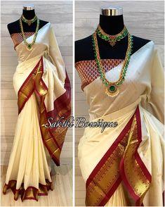 "159 Likes, 37 Comments - Sakthi Boutique (@sakthi_boutique) on Instagram: ""Kerala Soft Silk Cotton Saree + Silk brocade blouse material ✨"""