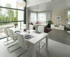 White and grey living room  Hyvinkään asuntomessut, kohde 19