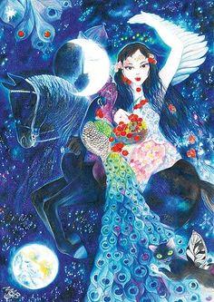 Červnová víla Vášeň od Marie Brozove.    July fairy drawn by coloring pencils