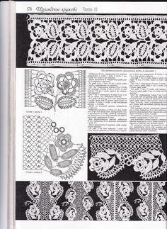 fashion magazines - crafts ideas - crafts for kids Crochet Yoke, Crochet Lace Edging, Crochet Buttons, Crochet Borders, Freeform Crochet, Crochet Stitches Patterns, Lace Patterns, Crochet Chart, Crochet Trim
