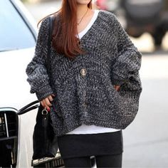 Autumn Vintage Women Loose Poncho Batwing Knitted Sweater Cardigan Overcoat [grxjy560579]
