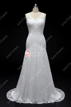 09197238c3 Light Ivory Straps Scalloped V-neck Mermaid Lace Wedding Dress with Court  Train