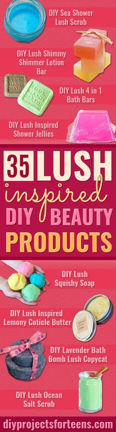 DIY Lush Inspired Recipes - How to Make Copycat Lush Products like Bath Bombs, Face Masks, Lip Scrub, Bubble Bars, Dry Shampoo and Hair Conditioner, Shower Jelly, Lotion, Soap, Toner and Moisturizer. Copycat and Dupes of Ocean Salt, Buffy, Dark Angels, Rub Rub Rub, Big, Dream Cream and More. #teencrafts #lush #beautyideas #diybeauty #bathbombs Diy Beauty Products To Sell, Diy Beauty Hacks, Lush Products, Facial Products, Makeup Products, Hair Products, Diy Hacks, Diy Bar, Diy Lush Soaps