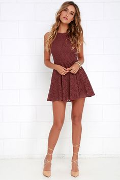 Lucy Love Hollie Jean Maroon Lace Skater Dress at Lulus.com! Grad Dresses, Casual Homecoming Dresses, Cute Formal Dresses, Homecoming Romper, Spring Formal Dresses, Short Evening Dresses, 8th Grade Graduation Dresses, Maroon Homecoming Dress, Homecoming Shoes