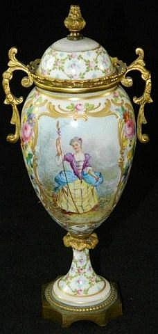 Hand painted French porcelain urn