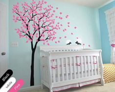 Nursery Tree Wall Decal with Hedgehogs and Leaves, Nursery Wall Decoration - Wall Tree Decals - 014 on Etsy, $79.00