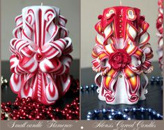 Christmas gift - Red candle - Carved candle - Home decor - Unusual gift