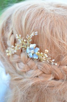 Petite Blue and Gold Floral Hair Comb, Bridal Hair Vine, Bridal Headpiece, Blue Comb, Gold Headpiece, Beaded Headpiece