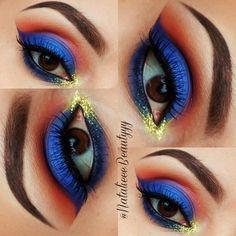 Wonder Woman Half Cut Crease #blue #eyeshadow #glitter