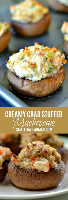 Crab Stuffed Mushrooms Quick and Creamy Crab Stuffed Mushrooms Stuffed Mushrooms Mushrooms Appetizers Party Food New Years Eve Food Small Town Woman via bethpierce. New Year's Eve Appetizers, Easy Appetizer Recipes, Party Appetizers, Seafood Appetizers, Appetizer Ideas, Appetizers For Christmas, Party Food Recipes, Tailgate Appetizers, Appetizer Dinner