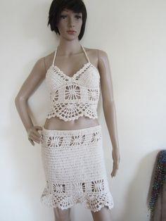 Crochet skirt  Festival clothing Boho skirt by Elegantcrochets