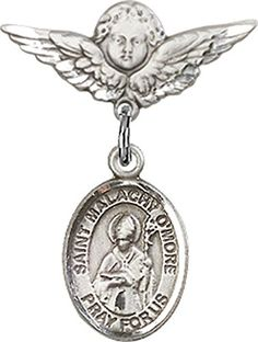 Sterling Silver Baby Badge with St Malachy OMore Charm and Angel wWings Badge Pin *** Click image for more details.