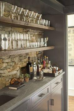 Wet bar, rock wall