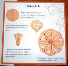 photo tutorial: Dahlia Fold ... unit origami ... one page tells it all ... great presentation of this well loved design ...