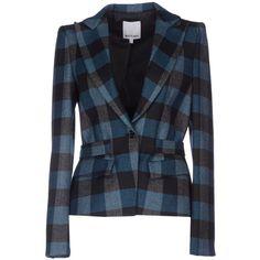 Who*S Who Blazer (5.485 RUB) ❤ liked on Polyvore featuring outerwear, jackets, blazers, azure, tartan blazer, blue jackets, flannel jacket, blazer jacket and pocket jacket