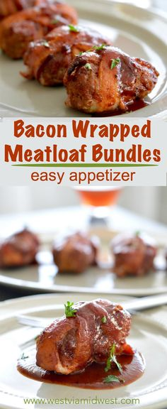Hearty bacon Meatloaf Appetizer Bundles: Crispy bacon wrapped around meatloaf bundles, brushed with bbq sauce for a filling and comfort food appetizer! Ideal for the holiday party season because they are filling and delicious! www.westviamidwest.com
