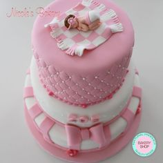 Cutest Baby Shower cake!! Tiered cake. Beautiful & Delicious. Vanilla Cake and Chocolate cake all filled with coconut buttercream. ‪#‎babyshowercake‬, ‪#‎tieredcake‬, ‪#‎Babycake‬,‪#‎pinkcake‬, #babycake, ‪#‎quiltedcake‬