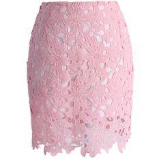 Skjørt by kari-c on Polyvore featuring polyvore, fashion, clothing, skirts, pink, pink knee length skirt, pink slip, flower print skirt, floral knee length skirt and crochet skirt