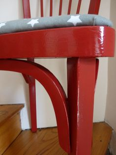 Baumann chair painted in shiny red