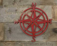 Wooden Compass Rose Cut Out - Nautical Wall Decor - Painted Silhouette - Nautical Nursery Decoration
