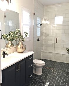 """675 Likes, 20 Comments - Cassity Kmetzsch (@remodelaholic) on Instagram: """"This is a really superb design. You've got the white tile walls, but the floor and cabinets are…"""""""