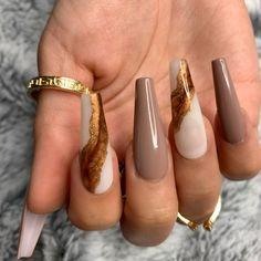 Brown Acrylic Nails, Best Acrylic Nails, Acrylic Nail Designs, Brown Nails, Brown Nail Designs, Purple Nails, Coffin Nail Designs, Painted Acrylic Nails, Chic Nail Designs
