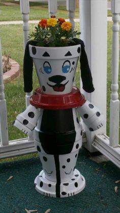 Clay pot dog flower pot