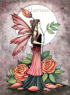 Original Fairy Fine Art Fantasy Print by Molly Harrison 12 x 16 'Rose of Fire'