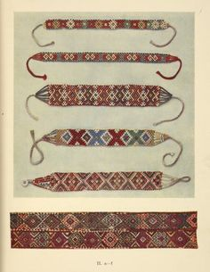 "Women's glass-bead necklaces from Neresnice and Jasina (c-e); f) Woven stripe for ornamenting a Kirghiz ""kibitka."" Makovskiĭ, Sergeĭ Konstantinovich, 1877-1962 (Author) 1926"