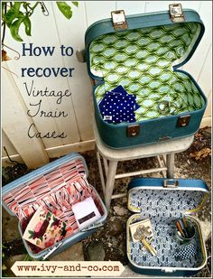 How to recover a vintage train case - Definitely going to have to learn how to do this! I have two vintage train cases I want to upcycle! Vintage Suitcases, Vintage Luggage, Vintage Travel, Small Suitcases, Diy Projects To Try, Craft Projects, Craft Ideas, Old Luggage, Luggage Case