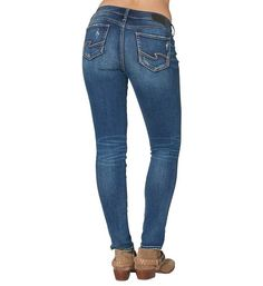 Silver Jeans Suki Mid Rise Ripped Skinny Jeans for Women
