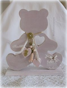 """NOSTALGIE DE L'ENFANCE ... Un cadeau de naissance , une décoration de chambre d'enfant,et pourquoi pas pour une personne ayant gardé son ame d'enfant ! Ourson""""Teddy"""" en bois - 10041431"""