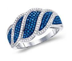 Blue & White Diamond Ring Right Hand Band Fashion 10k White Gold (0.50 ct.tw) #Diamond #wedding #Engagement #Band #fashion #Jewelry jeweltie.com