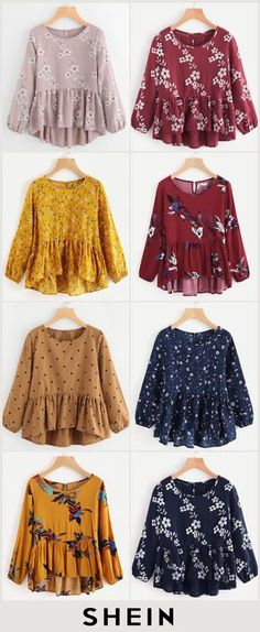Calico Print Frill Hem Blouse is part of Fashion dresses - Girls Fashion Clothes, Teen Fashion Outfits, Girl Fashion, Fashion Dresses, Muslim Fashion, Hijab Fashion, Mode Lolita, Stylish Dresses For Girls, Mein Style