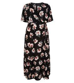 Curves Black Floral Print Wrap Maxi Dress | New Look