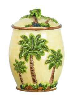 4pc Tropical Hawaiian Palm Tree Kitchen Canister Set