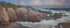 "Cindy Baron""Coastal Pilot""  Oil on Canvas 14"" x 34"""