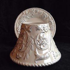 Yankee Candle White & Silver Swirls Rope Trim Large Jar Shade & Plate Retired