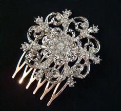 Rhinestone Snowflake Hair Comb Vintage Style /  wedding hair comb / bridal hair comb / Art Deco Crystal Hair Comb Bridesmaid rhinestone. $22.00, via Etsy.