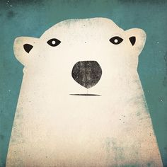 Polar Bear GRAPHIC ART Illustration 7x7 giclee print SIGNED $24.00