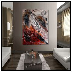 OVERSIZED Large Painting red Abstract art Modern by largeartwork