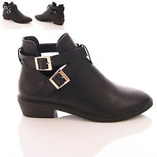 Flat black ankle boot