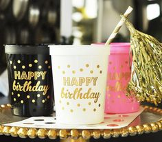 Happy Birthday Cups Birthday Decor Party Cups by GlitterDaisyShop