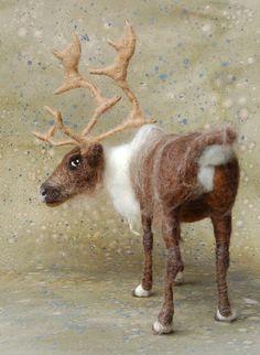needle-felted reindeer - sarafina fiber art