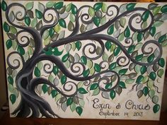 Wedding guest book signature tree.....200 painted leaves.....22 x 28 canvas via Etsy