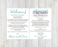 Wedding Welcome Letters Palm Tree Welcome Letter Destination