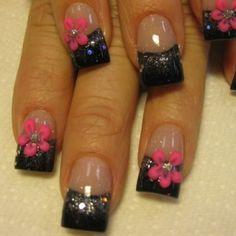 Black And Blue French Manicures | ... thumb Modern nails art design Latest nails manicure decoration design